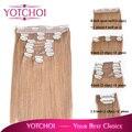 Yotchoi 22 pulgadas clip en remy extensiones del pelo humano 14# light ceniza de color marrón 10 unids grado superior trama del pelo recto 200 g de peso