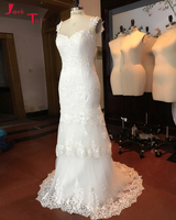 Jark Tozr Vestido De Noiva Princesa Tiered Skirt White Tulle Gorgeous Sheath China Bride Wedding Dresses