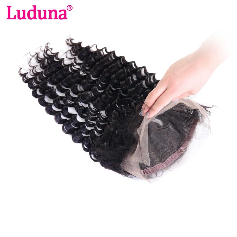 Luduna волос глубокая волна 360 Кружева Фронтальная застежка с регулировкой полоски-человеческих волос пучков 8-20 дюймов бесплатная часть