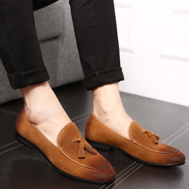 Slip Chaussures gray Mocassins yellow Hommes Cuir Ballerines Confortables Gland red Respirantes on Black Daim Nouvelle Mode Rétro En BqwInzxRZP