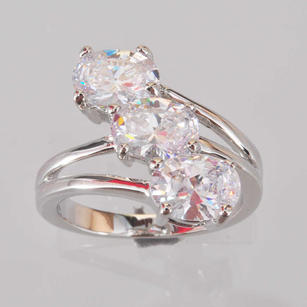 ขายส่งขายปลีกแบรนด์ใหม่แฟชั่นเครื่องประดับ Morganite Zircon คริสตัล 925 เงินสเตอร์ลิงแหวนหมั้นสำหรับผู้หญิง R1735