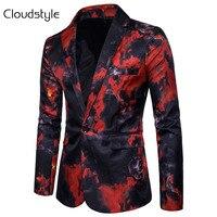 Cloudstyle 2018 Men Fire Print Suit Autumn Spring Male Performance Jacket Slim Blazer Men S Outerwear