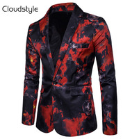 Cloudstyle 2018 Men Fire Print Suit Autumn Spring Male Performance Jacket Slim Blazer Men's Outerwear For Party