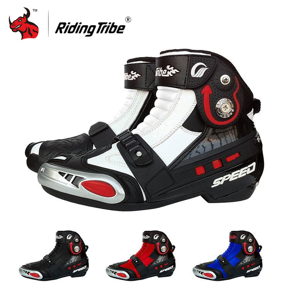 Riding Tribe Men's Motorcycle Boots PU leather Motorcycle Riding Boots Motocross Off-Road Boots Shoes Ankle Motorbike Boots off road lightweight breathable motorcycle road racing shoes boots genuine pro biker motorcycle riding boots