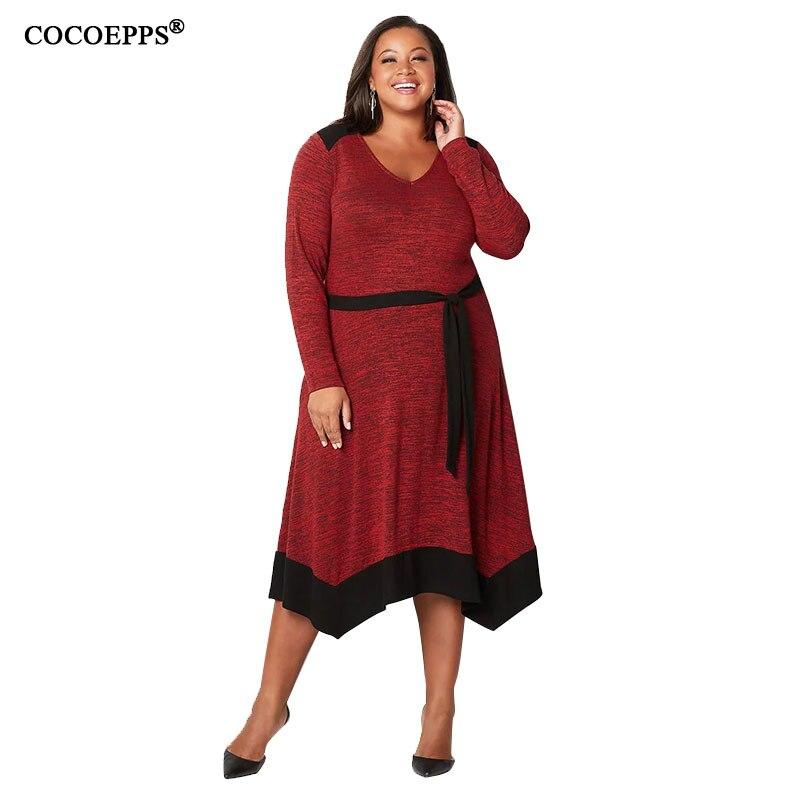 US $17.98 45% OFF|COCOEPPS 6XL Plus Size Women Clothes 2019 Fashion Autumn  Dress Large Size Elegant Long Dresses Winter Big Size Christmas Dress-in ...