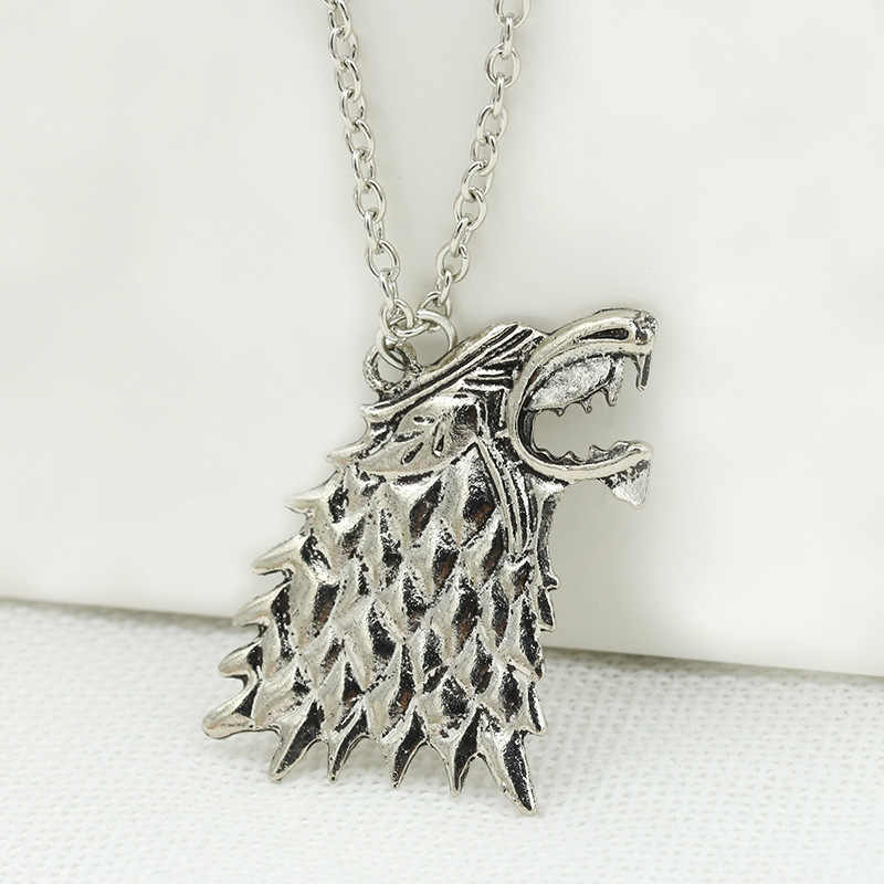 Game of Thrones Stark Roaring Wolf Head Pendant Silver Necklace for Women Men