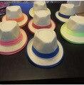 Nuevo Unisex Mujer Hombre Festival de Verano de Paja Playa Sombrero de Fedora del sombrero flexible De La Cinta de Neón, 6 UNIDS/LOTE Envío gratis