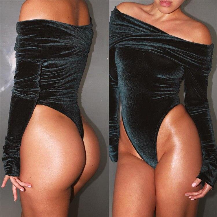 94581eb82ba Starlist Velour sexy Skinny off shoulder Bodysuits velvet long sleeve party  shinny jumpsuit woman romper