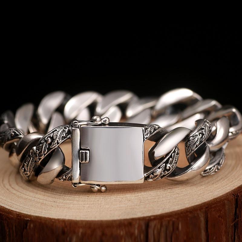 Image 4 - ZABRA Plant Totem Genuine 925 Silver Bracelets Punk Rock Vintage Heavy Sterling Silver Bracelet Men Luxury Male Biker Jewelry-in Chain & Link Bracelets from Jewelry & Accessories