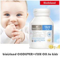 Australia Bio Island COD LIVER+FISH OIL Vitamin A D DHA EPA For Kids Support healthy growth development for Infants and Children
