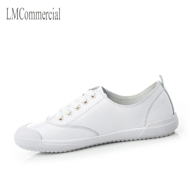 2017 new autumn on the first layer of leather shoes women's flat shoes lace shoes all-match white shoes one generation pearl white canvas shoes shoes white shoes all match flat flat with lace shoes in autumn korean students
