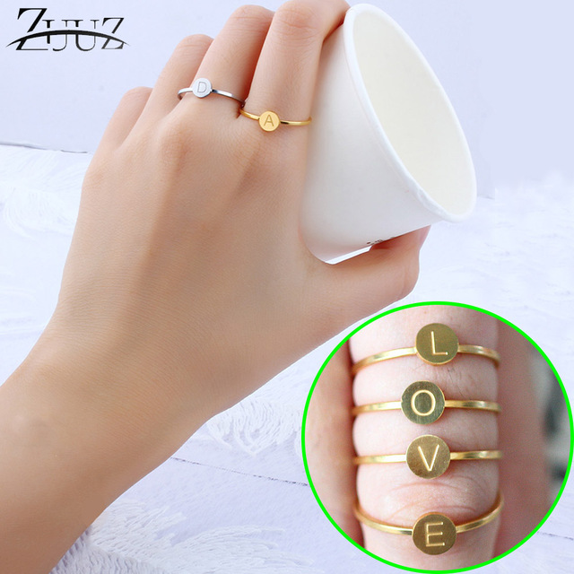 ZUUZ letter rings for women jewelry accessories silver gold female jewellery finger ring brilliant set girls fingering fashion