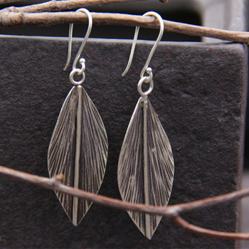 JINSE  2018 Fashion Bohemian Long Earrings Unique Natural Real 925 Sterling Silver Big Leaf For Women Fine Jewelry Gif