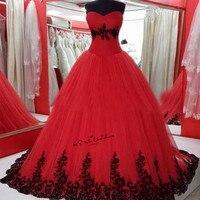 Cưới màu Đỏ đen Dresses Cộng Với Kích Thước Vestidos de Noivas Ren Trung Quốc Bridal Gowns Corset Lại Gothic Wedding Gown Puffy Trouwjurk