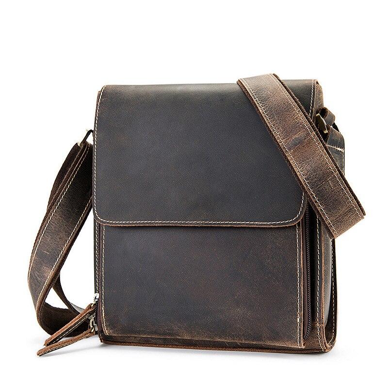 Sac de luxe en cuir véritable pour hommes sac Messenger décontracté homme épaule bandoulière sac à main grand Vintage Crazy Horse sac à main fourre-tout