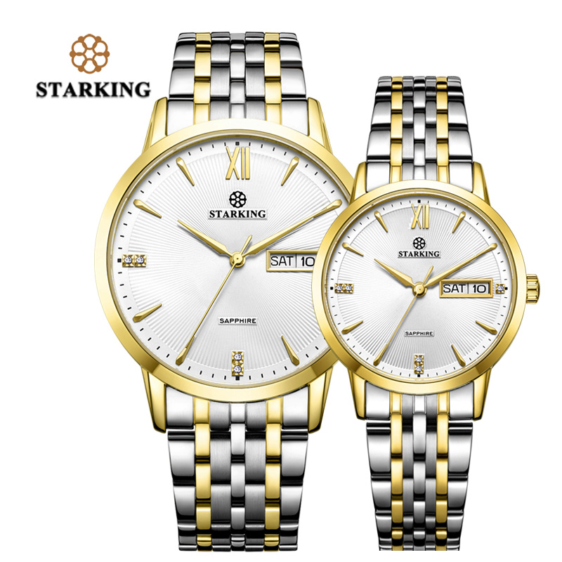 STARKING Fashion Couple Watches Japan Quartz Movt Gold Stainless Steel Watches Lover Gifts Auto Date 3ATM Waterproof Relogios F
