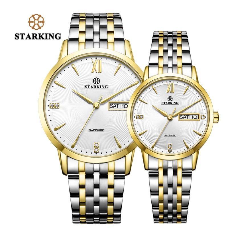 STARKING mode Couple montres japon Quartz Movt or en acier inoxydable montres amoureux cadeaux Auto Date 3ATM étanche Relogios F