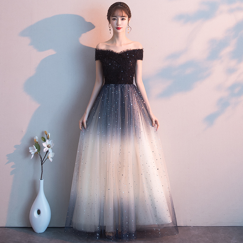 Beauty Emily Black Evening Dress 2020 Long  Lace Up Formal Party Prom Dress Floor-length  Robe De Soiree