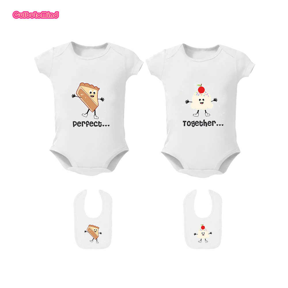 26e77154dac3 ... Baby Bodysuits 2PCSSummer Boy Girl Baby Clothes Twin Bodysuits and  Matching Bib Short Sleeve Playsuit Perfect ...