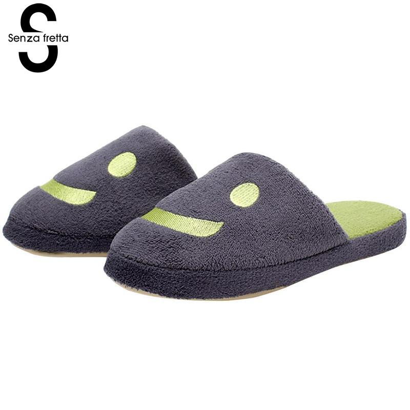 Senza Fretta Men Shoes Smiley Soft Bottom Couple Slippers Winter Warm Non-slip Indoor Men Slippers Fashion Couple Men Slippers men winter soft slippers plush male home shoes indoor man warm slippers shoes