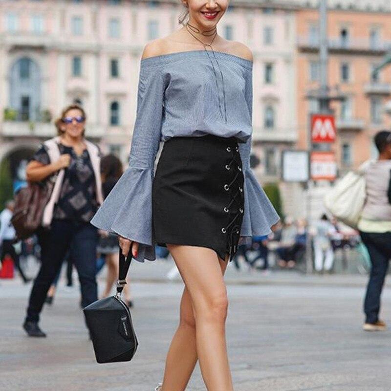 HTB12IzsOFXXXXayXFXXq6xXFXXXx - Women Black Mini Skirts Lace up PTC 39