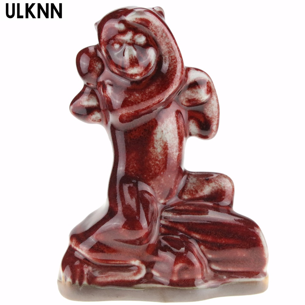 ULKNN Ceramic Crafts Home Decoration Chinese Red Porcelain Zodiac Monkey Ornaments Decoration Gifts