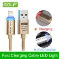 Golf Inteligente línea de nylon trenzado de Cristal luz LED cable de datos USB de alta velocidad de transmisión de datos cable de carga rápida iPhone5/6
