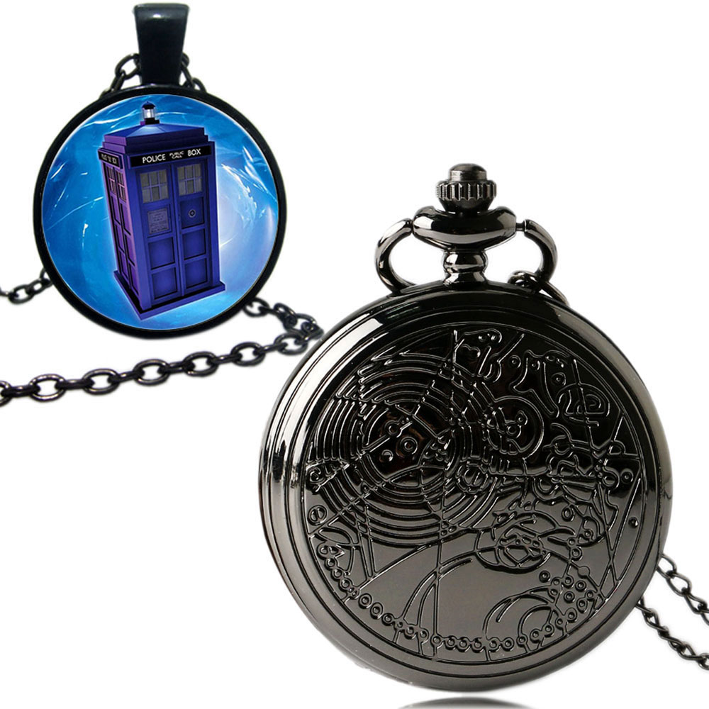Doctor Who Gifts Black Case Smooth Quartz Fob Pocket Watch With Dr. Who Tardis Symbol Pendant Necklace футболка рингер printio доктор кто doctor who