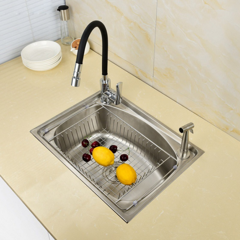 kitchen sink 304 stainless steel Wiredrawing Finished brushed matte single bowl with faucet free shipping sink SET free shipping ciencia stainless steel brushed nickel undermount double bowl handmake kitchen sink with faucet for kitchen