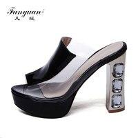 Fanyuan Slippers Women Peep Toe Sandals Thick Heel Slippers Women's Summer High Heel Platform Sandals Casual Flip Flops Shoes