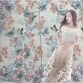 Multicolor tridimensional mariposa bordado de tela de hilo falda de encaje bordado de tela de encaje