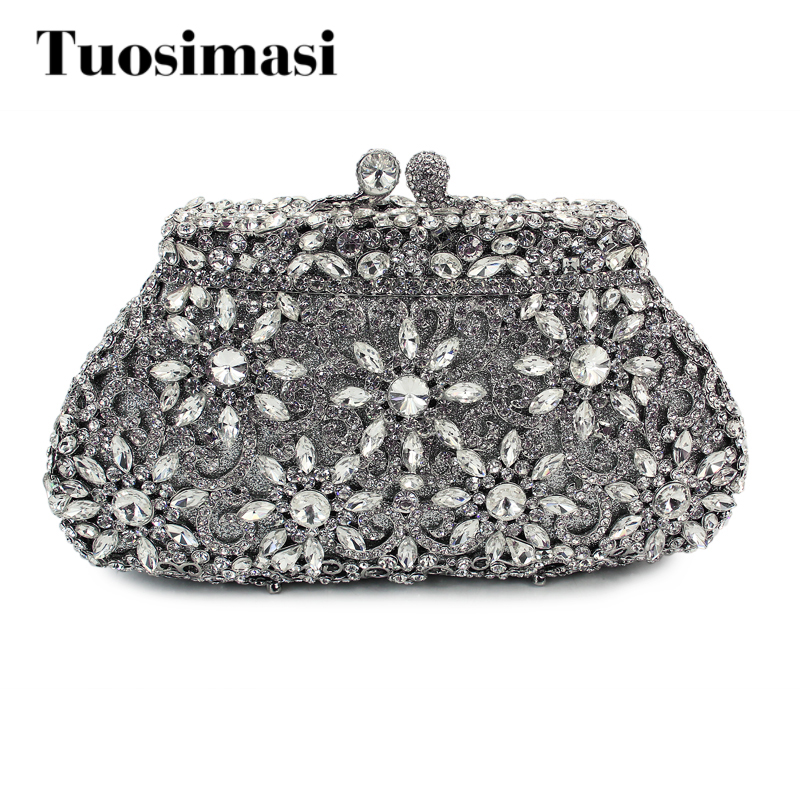 Elegant Silver Crystal Handmade Evening Bags Women Rhinestone Party Purses Wedding Bags Clutch Purses luxury crystal clutch handbag women evening bag wedding party purses banquet