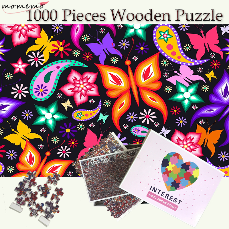 MOMEMO Butterfly Wooden Puzzle 1000 Pieces Jigsaw Puzzles Adult DIY Colorful Puzzles 1000 Pieces Wooden Puzzle Games Home Decor