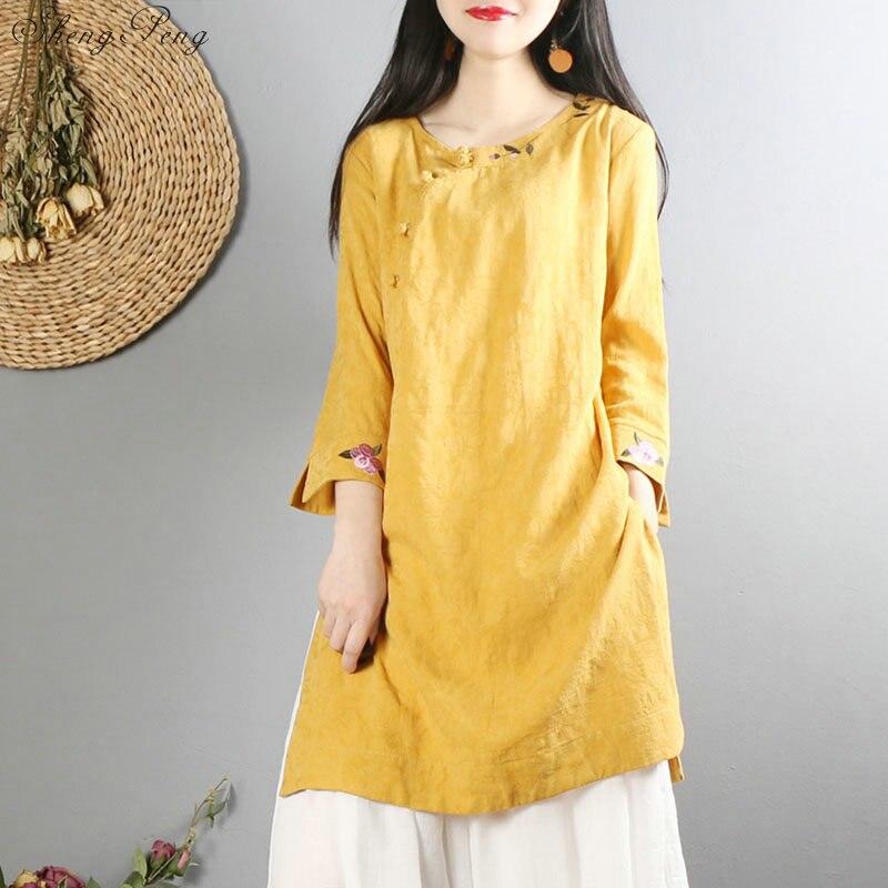 Nouveautés 2018 blouses col mandarin vêtements traditionnels chinois élégantes dames style rétro hauts Q327