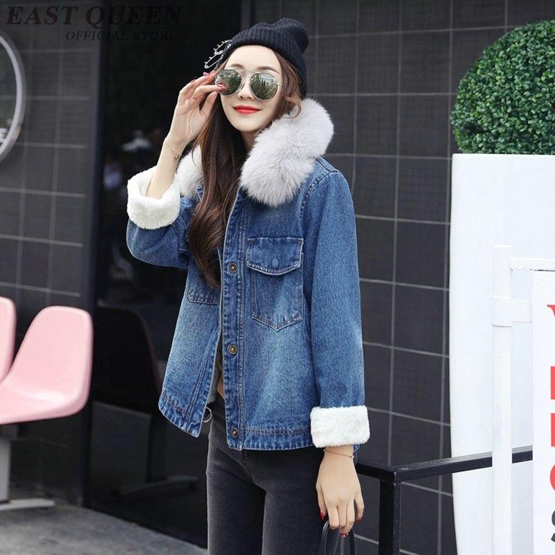 2018 fashion fur denim jacket women jacket women spring blue jeans jacket women AA3275 Y