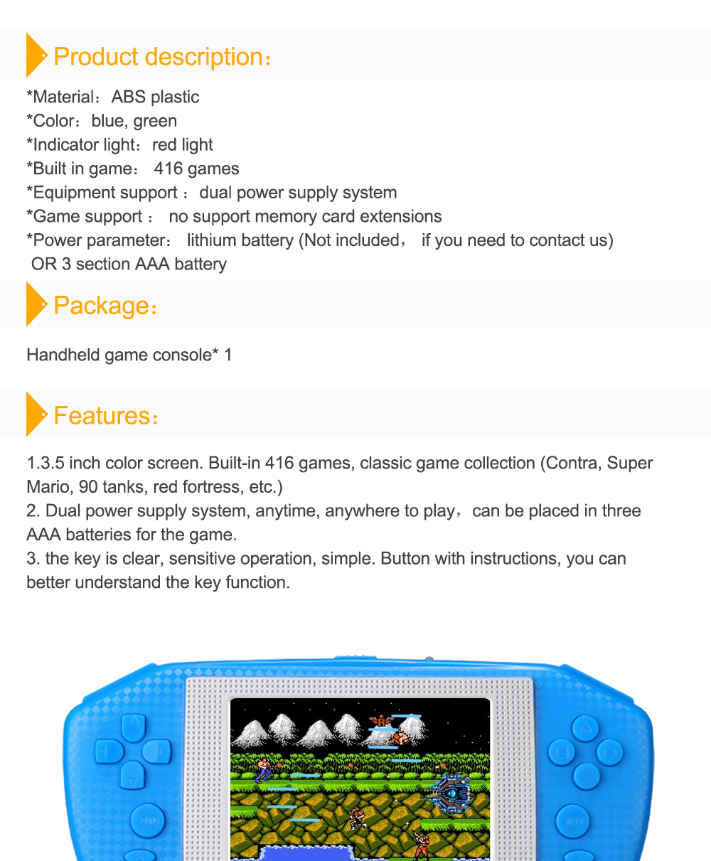 Powkiddy Video Game Color Screen Handheld Games Player 35 Inch