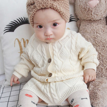 Toddlegirl clothes new children's clothing boys and girls twist knit sweater cardigan + shorts set baby two-piece