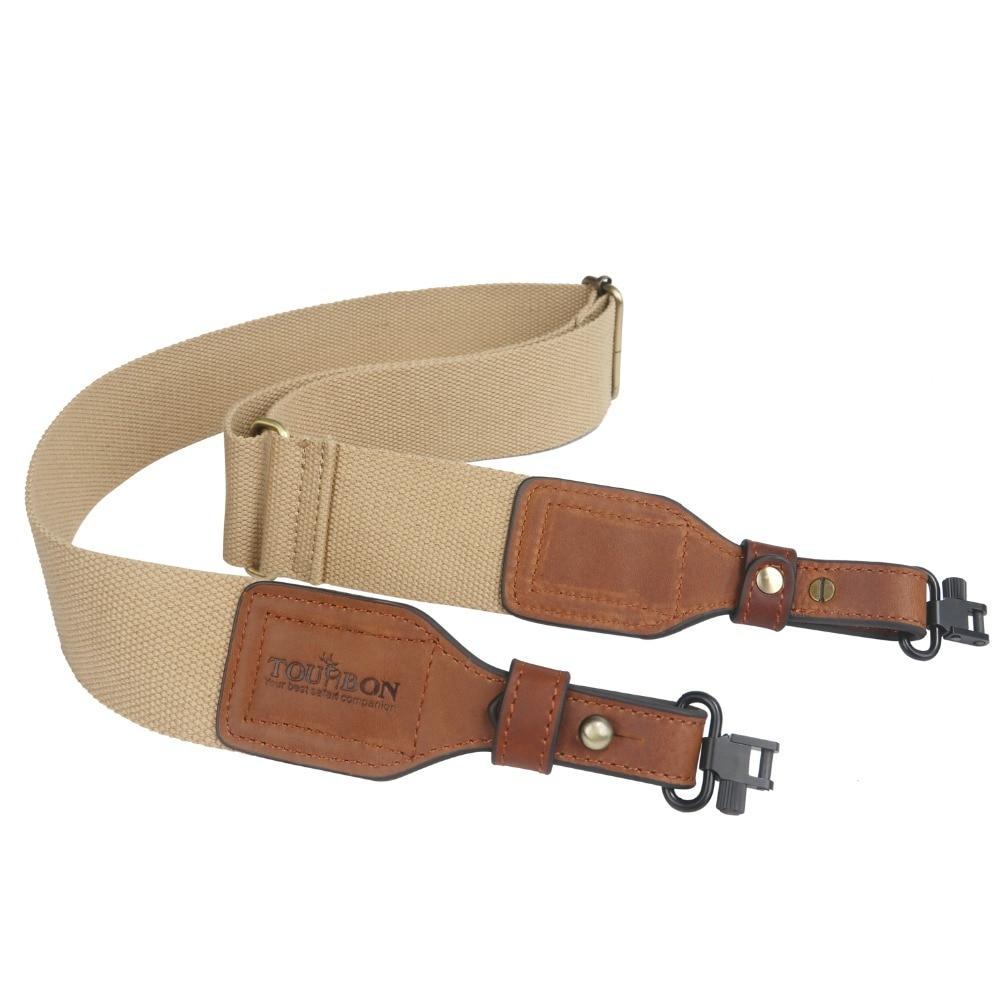 Tourbon Hunting Accessories Tactical Gun Shoulder Strap Webbing & Leather Shotgun Rifle Sling Belt W/Swivels Brass Buckle(1 SET)