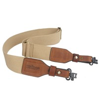Tourbon Hunting Accessories Tactical Gun Shoulder Strap Webbing & Leather Shotgun Rifle Sling Belt w/Swivels Brass Buckle(1 SET)