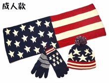Unisex girls boys winter suit USA UK flag design knit knitted hat scarf glove 3 pcs warm winter set