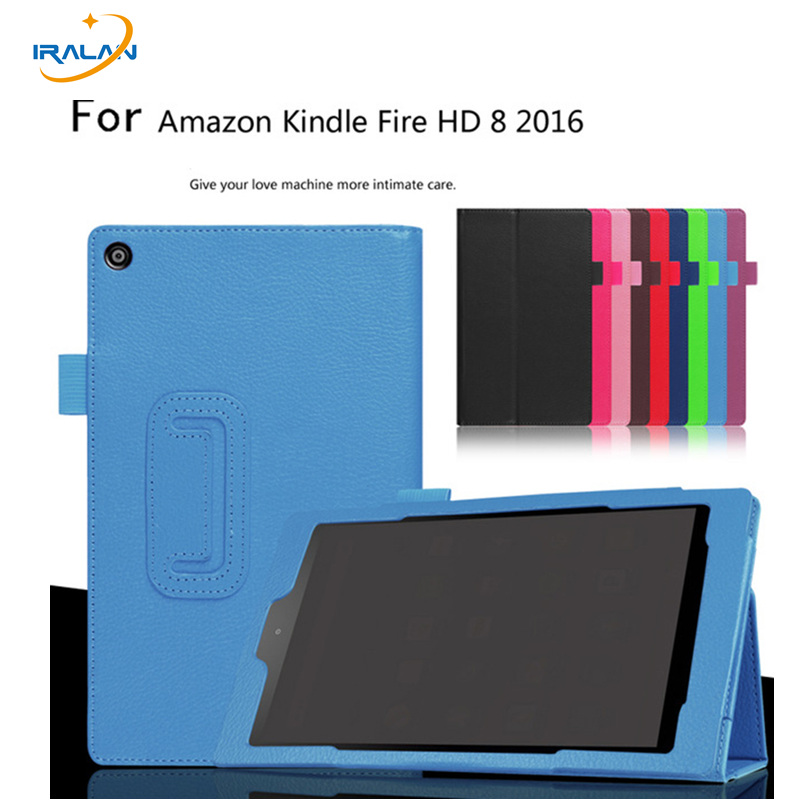 Hot Litchi Ultra Thin case For Amazon Kindle Fire HD 8 HD8 2016 8.0 inch tablet Folio PU Leather Stand Book Cover for amazon kindle fire hd 8 hd8 2016 8 0 inch tablet shockproof case for amazon fire hd8 2016 kids baby safe back cover fundas