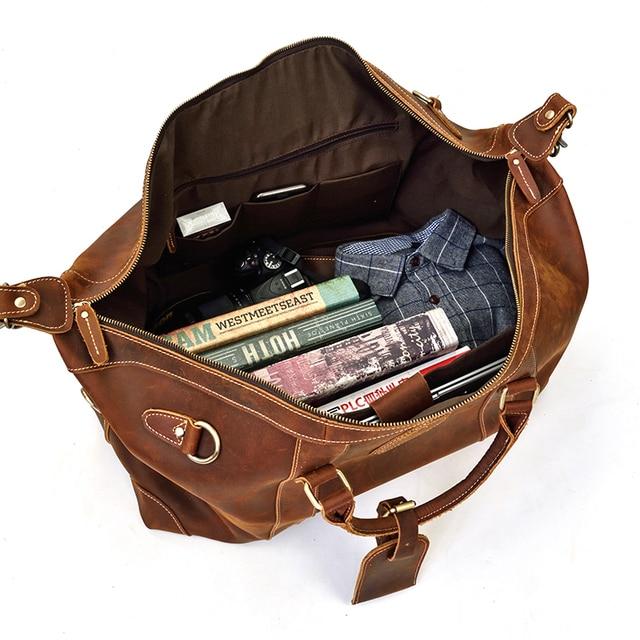 MAHEU 100% Genuine Crazy Horse Leather Men Travel Bags With Rivet Big HandBag For Male Cowhide Duffel Bag Mans Travelling Bag 3