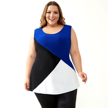 Summer Tops for Women 2018 Plus Size Tank Tops Tees Colorblock Sleeveless Oversized T Shirt Casual Camisa Female Tube Tops H093 1