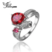 JewelryPalace Flower Rose 2.6ct Created Pink Ruby Love Promise Ring 925 Sterling Silver Rings for Girls High quality Jewellery