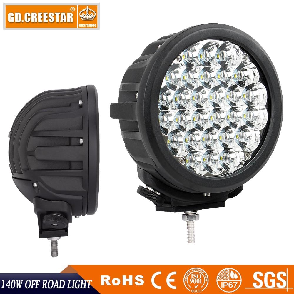 GDCREESTAR 7 INCH 140W ROUND OFF ROAD LED WORK LIGHT 4x4 led driving lights 12v 24v Spotlights for truck atv utv car lamps x1pc цена
