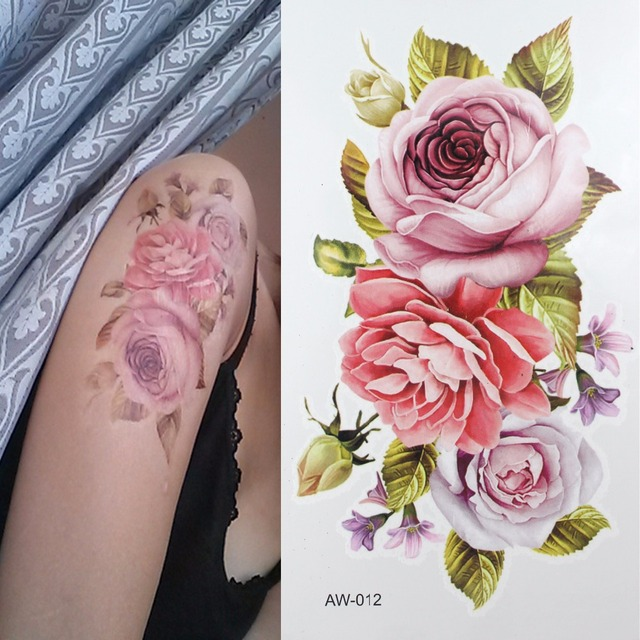 Cicatrice Diy Temporaire De Tatouage Fleurs Rose De Tatouage 3d