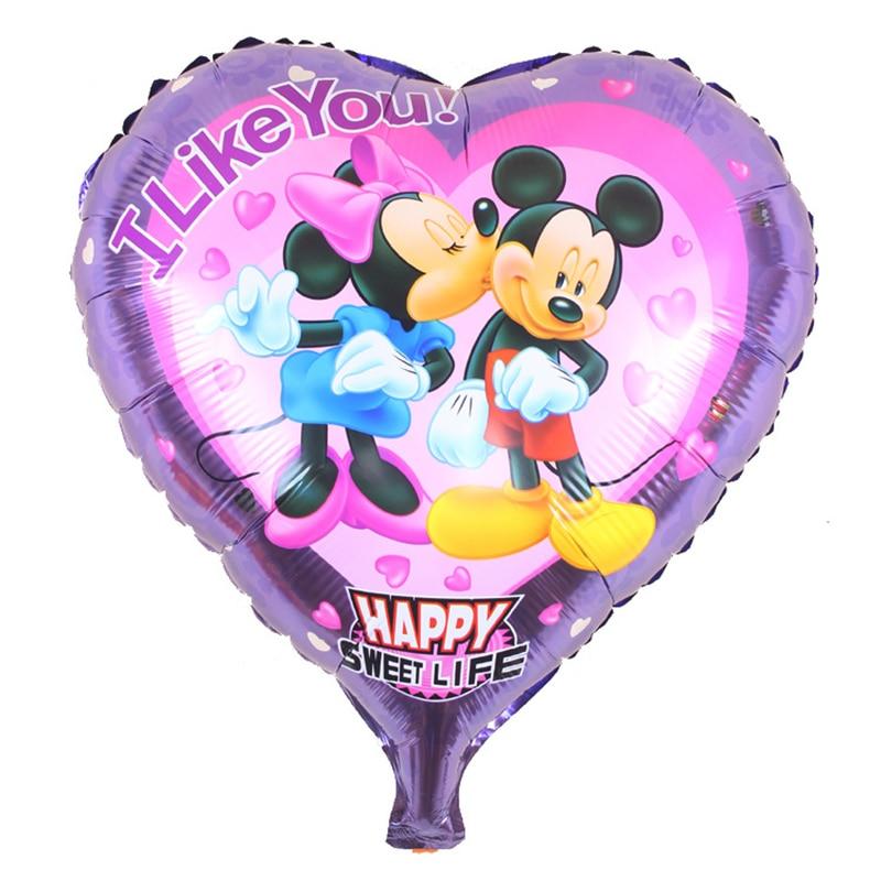 5psc/ love lip prints Minnie mickey aluminium film balloon birthday party arrangement of wholesale childrens toys balloons