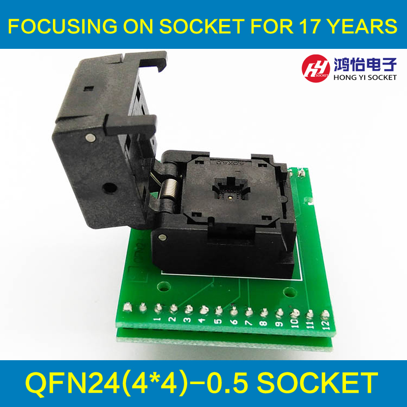 QFN24 MLF24 WLCSP24 to DIP24 Double-Board Programming Socket Pitch 0.5mm IC Body Size 4x4mm MPU6050 Flash Adapter SMT Test Sock fshh qfn24 to dip24 programmer adapter wson24 udfn24 mlf24 ic test socket size 8mmx6mm pin pitch 0 8mm