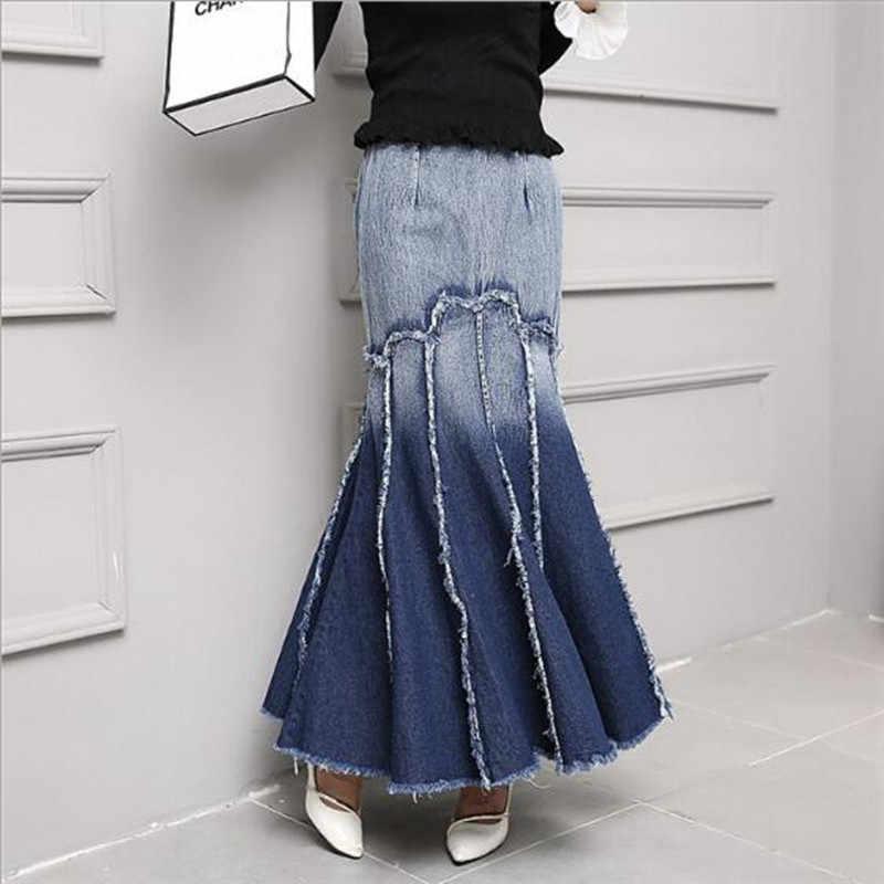 Джинсовая юбка Длинная женская 2019 Весенняя Потертая джинсовая юбка винтажная Корейская Высокая талия контрастная цветная юбка-годе QV408