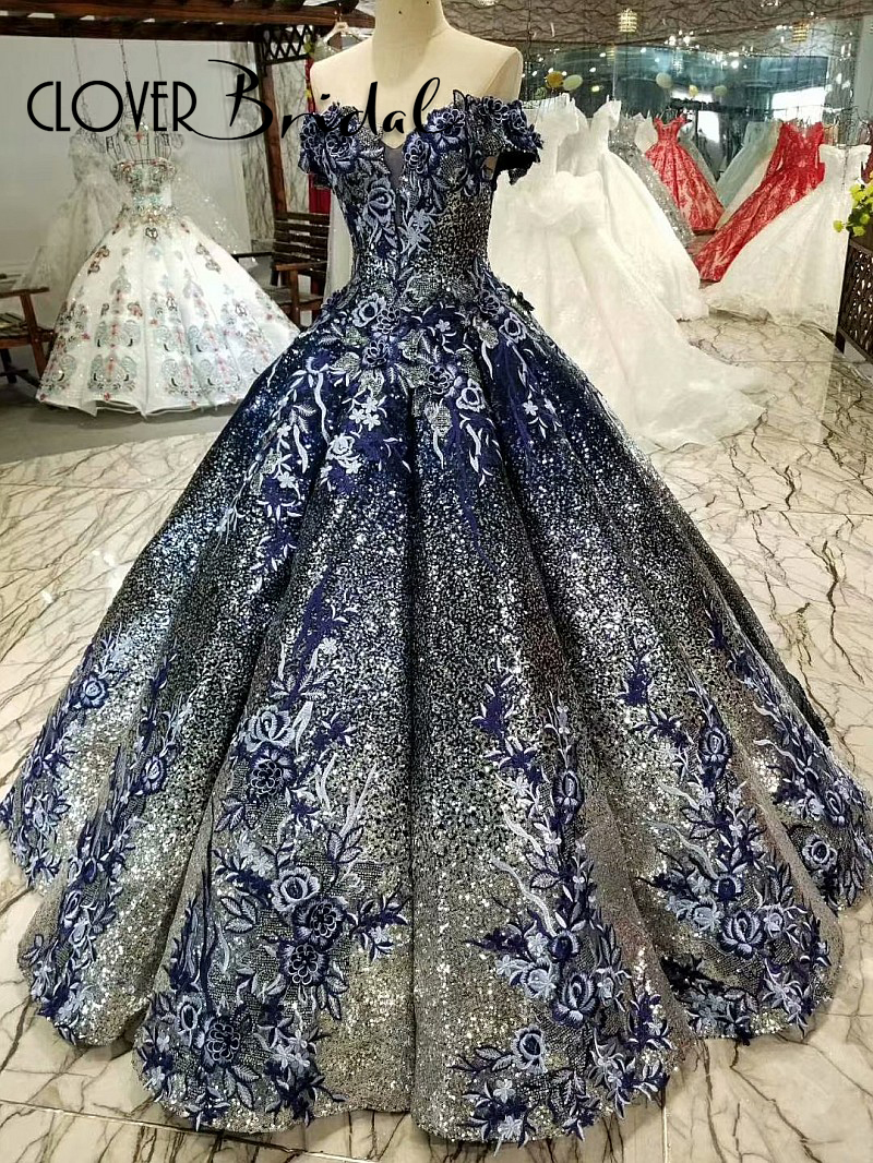 us $415.0 |women off the shoulder draped ball gown embroidery sequined navy  blue wedding dress floor length abito da sposa 2018-in wedding dresses